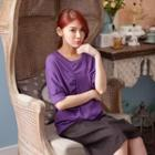Ruched-trim Elbow-sleeve Top