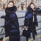 Furry-trim Hooded Long Padded Jacket