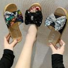 Platform Sequined Bow Sandals