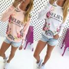 Floral Print Lettering Pullover
