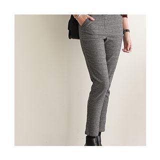 Band-waist Checked Dress Pants