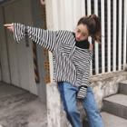 Long-sleeve Mock Two-piece Striped Top