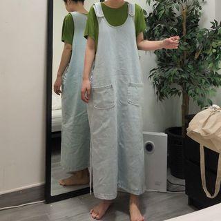 Denim Midi Jumper Dress As Shown In Figure - One Size
