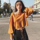 Square-neck Lantern-sleeve Knit Top
