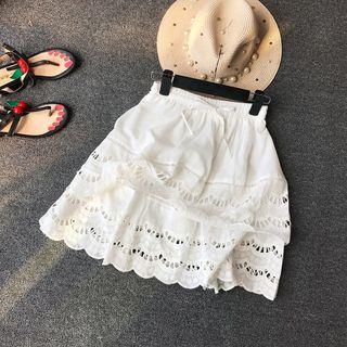 Drawstring Eyelet-lace Skirts