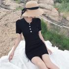 Contrast Trim Short Sleeve Polo Shirt Dress