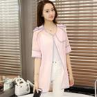 Piped Short-sleeve Light Jacket