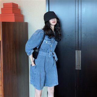 Denim Long-sleeve Playsuit Dark Blue - One Size