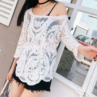 3/4-sleeve Embroidered Sheer Top