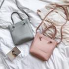 Faux-leather Plain Bucket Bag