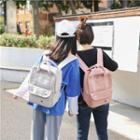 Square Applique Nylon Backpack