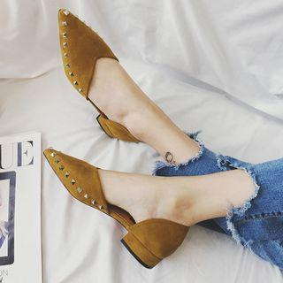 Studded Faux Suede Pointed Low Heel Pumps