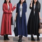 Plain Pleated Long Cardigan