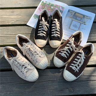 Fleece Panel Lace-up Sneakers