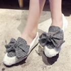 Patterned Bow Accent Furry Loafers