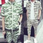 Set: Camouflage Short-sleeve Zip Jacket + Cropped Sweatpants