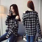 Long-sleeve Mock Two-piece Plaid Shirt