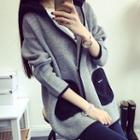Contrast Trim Hooded Long Knit Coat