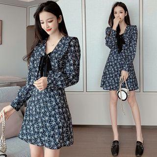 Floral Print Ribbon Long-sleeve A-line Mini Dress