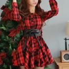 Buttoned Plaid Dress With Belt