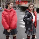 Reversible Hooded Padded Zip-up Coat