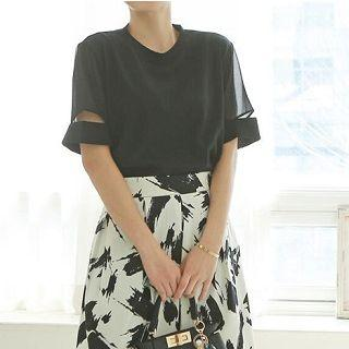 Short-sleeve Top Black - One Size
