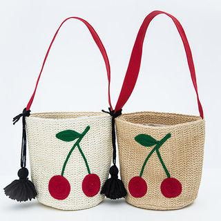 Embroidered Woven Bucket Bag