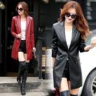 Plain Genuine Leather Long Jacket