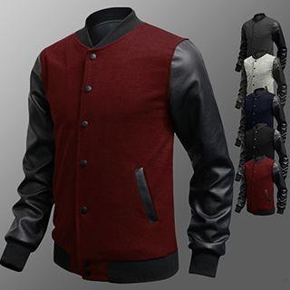 Faux-leather Sleeve Button Jacket
