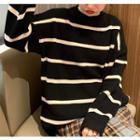 Loose-fit Striped Sweater / Plaid Midi Skirt