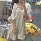 Ruffle Trim Elbow Sleeve Chiffon Shirtdress