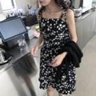 Floral Sleeveless Dress Black - One Size