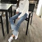 Color-block Slim-fit Boot-cut Jeans