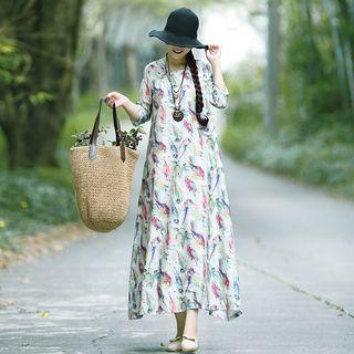 3/4-sleeve Bird Print Midi A-line Dress