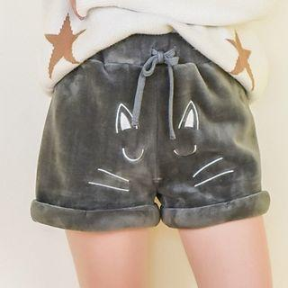 Cat Embroidered Drawstring Shorts