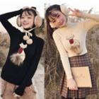 Turtleneck Sequined Knit Pullover