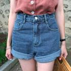 Relaxed-fit Washed Denim Shorts