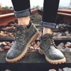 Stitched Lace-up Shoe Boots