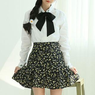 Ruffled Floral Mini Skirt