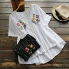 Short-sleeve Embroidered Striped Top
