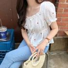 Floral Embroidered Short-sleeve Peplum Blouse