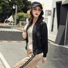 Faux-leather Baseball Jacket