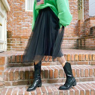 Tulle-overlay Velvet Long Pleated Skirt