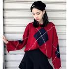 Fray-hem Argyle Sweater