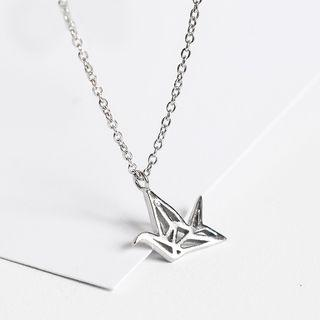 925 Sterling Silver Origami Crane Pendant Necklace As Shown In Figure - One Size