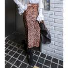 Dotted Velvet Midi Skirt