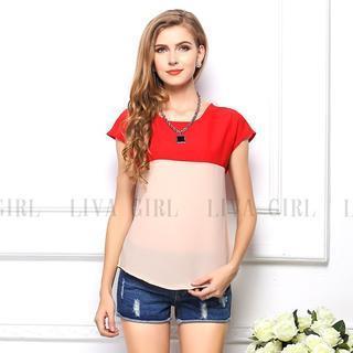 Short-sleeve Colour Block Chiffon Top