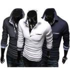 Long-sleeve Plaid Trim Polo Shirt