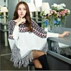 Fringed Patterned Knit Cape