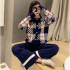 Plaid Knit Cardigan / Wide-leg Knit Pants
